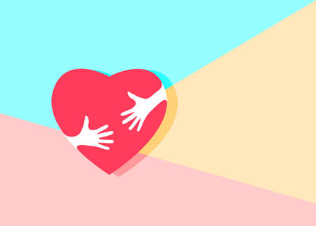 Flat minimalism art design graphic image of Embrace Heart Shape with hands Logo design template icon on pastel colored pink and blue background, hugging heart, concept of love and care, happy valentine's day