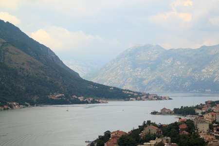 fascinating view of the Bay of Kotor from the observation deck on the mountain Banco de Imagens