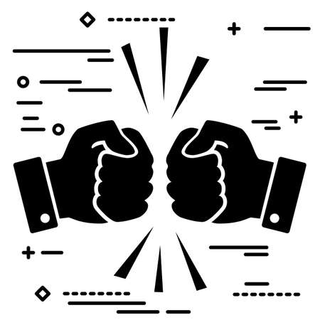 Concept of fierce competition. Flat lay black art two hands clenched into fists collide on white background.