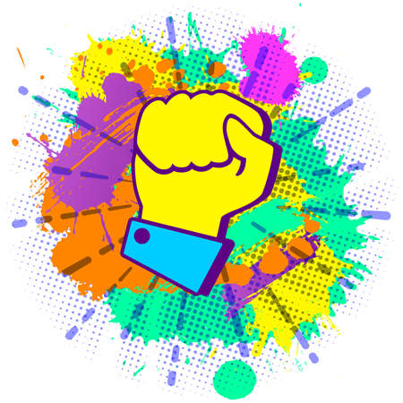 concept of fighting for rights. Colorful paint splashes with emblem of hand compressed in fist on white background