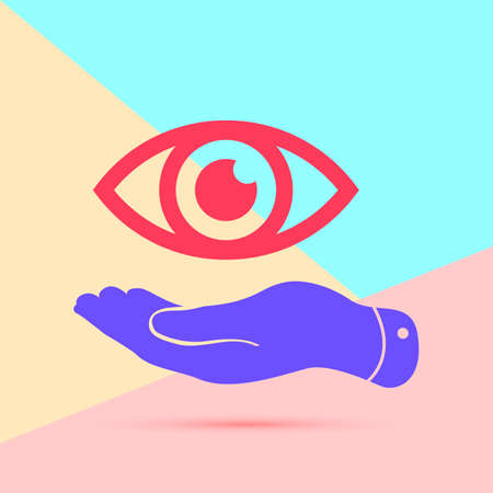 flat lay modern pink flat hand represents the eye icon with shadow on pastel colored blue and pink background