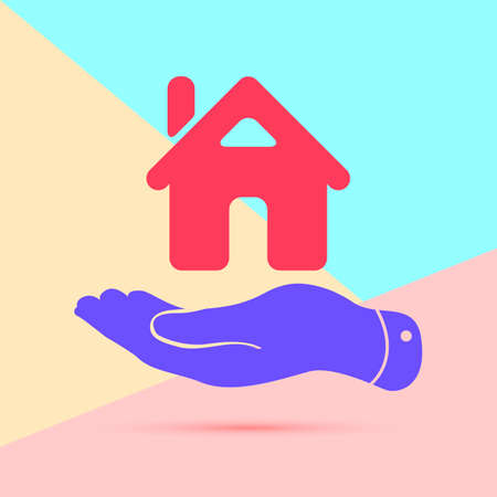 flat lay modern pink flat hand showing the icon of home with shadow on pastel colored blue and pink background