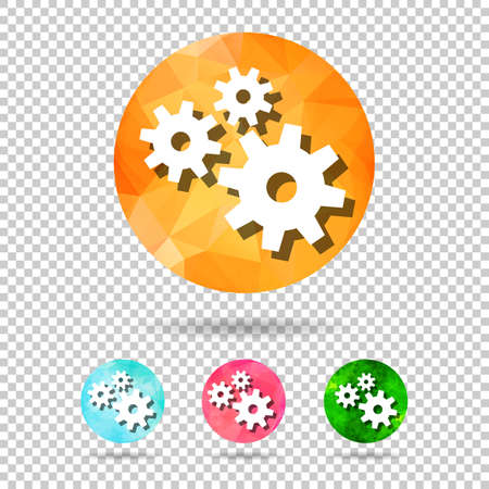 set of abstract geometric spherical icons with gears from triangular faces for graphic design Illustration