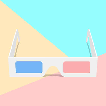 flat lay modern 3d glasses icon with shadow on pastel colored blue and pink background