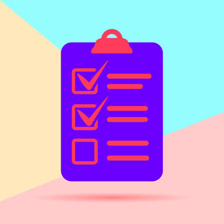 flat lay modern check list icon with shadow on pastel colored blue and pink background
