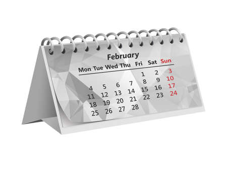 gray triangular month of February 2019 on the Desk paper calendar on white background