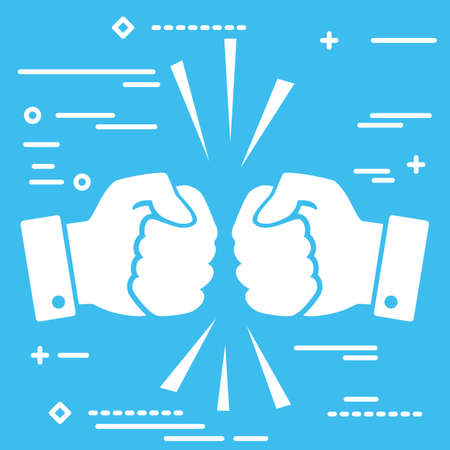 Concept of fierce competition. Flat lay white art two hands clenched into fists collide on blue background.