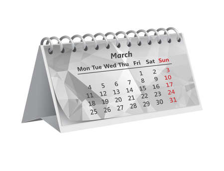 gray triangular month of March 2019 on the Desk paper calendar on white background