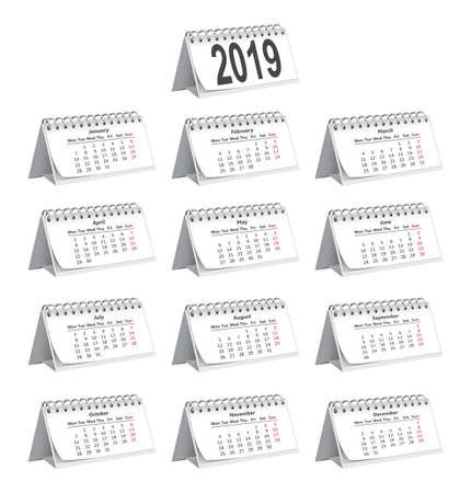 set of 2019 desk paper calendars on a white background Illustration