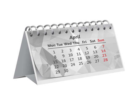 gray triangular month of April 2019 on the Desk paper calendar on white background