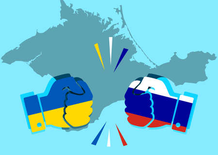 concept of confrontation between the neighboring countries with Crimea. Fists painted in the Ukrainian flag and the colors of the Russian flag collide with each other with a map of the Crimea behind