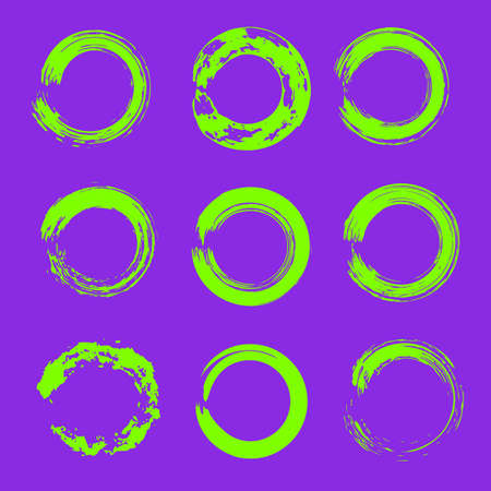 set of ufo green grunge circle brush strokes for frames, icons, design elements on proton purple color trends 2019 background