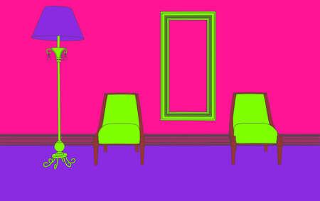 flat purple minimalism interior of living room