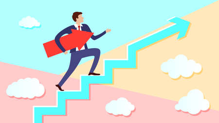 Businessman is walking up the stairs with an arrow pointing along his path under his arm. Concept of a charismatic man going to his intended goal. Ilustrace