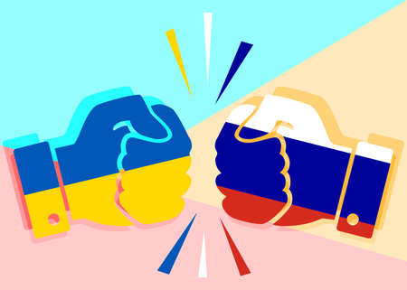 concept of confrontation between the neighboring countries. Fists painted in the Ukrainian flag and the colors of the Russian flag collide with each other
