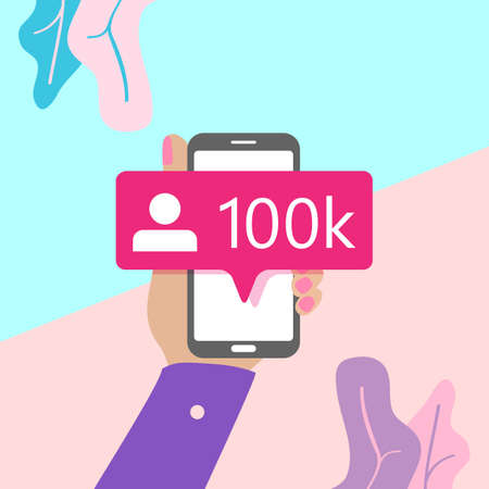 flat lay modern minimal hand holding mobile phone with new pink ten chiliad like followers social media iconon screen with shadow on pastel colored blue and pink background. Pink bubble icon set for websites, blog, mobile interfaces