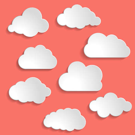 Vector illustration of clouds collection on Living Coral color of the Year 2019