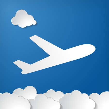 flat plane departure icon and paper clouds on blue air background