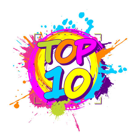 Colorful paint splashes with circular top ten emblem for ratings or parades Illustration