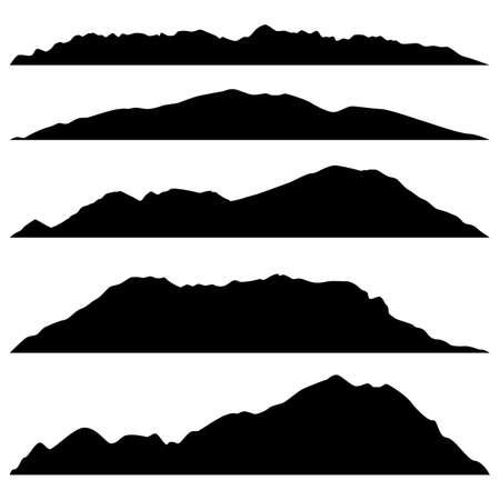 set of black mountains silhouettes on white background