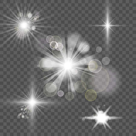 Bright white abstract festive bokeh flare effect on transparency background 矢量图片