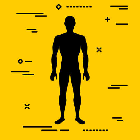 Flat black characterizing male silhouette for normal weight stage of body mass index on yellow background Illusztráció