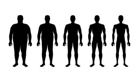 characterizing male silhouettes for different stages of body mass index