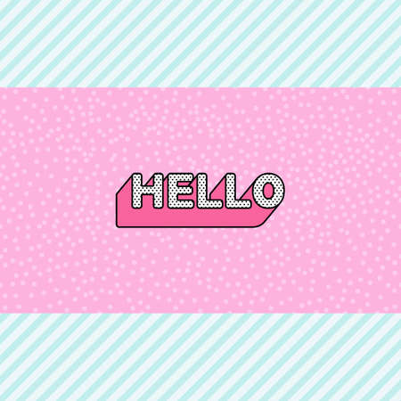 Hello inscription on pink doll lol pattern with blue stripes background
