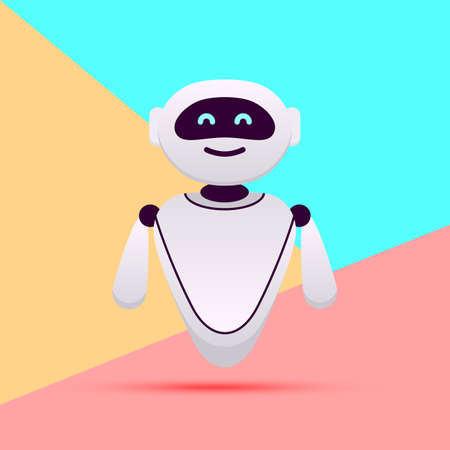 white robot or chat bot with artificial intelligence on pink blue colored pastel background Ilustração Vetorial