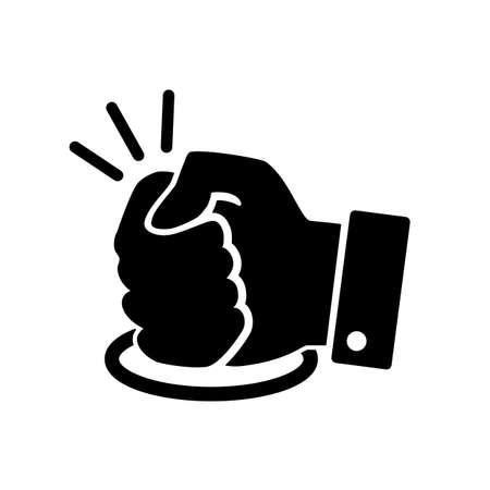 black fist hits the table icon on white background Ilustración de vector