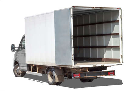 small truck with red cab stands with open empty body ready for loading cargo. lipping path is included Stockfoto