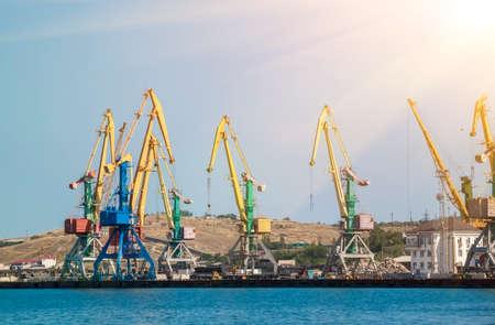 sea port view with multicolored cranes