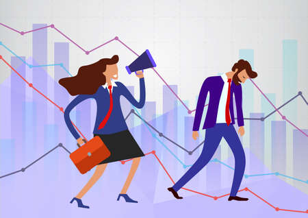 concept of effective manager shouting into megaphone when chart in fall, economy going down. drooping bearded man in a suit with a red tie walks dejectedly with background of different schedules.