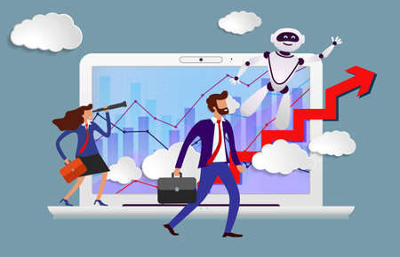 Robot assistant in business from screen of laptop prompts head direction for movement to success. Happy employees look to successful future led by growing schedules thanks to artificial intelligence