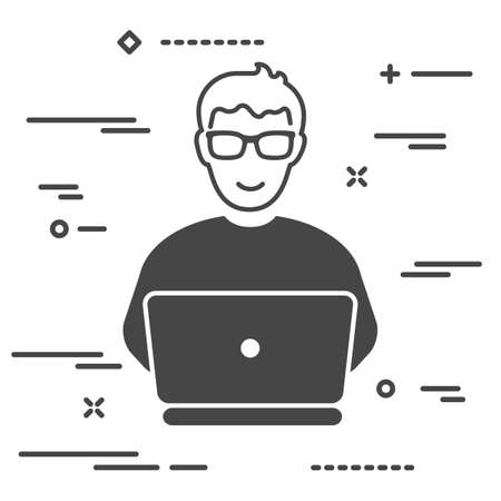 User with tie working on laptop, concept illustration of person with personal computer