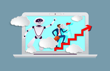 robot assistant in business from screen of laptop prompts head direction for movement to success  イラスト・ベクター素材