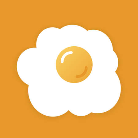 Fried eggs on yellow background