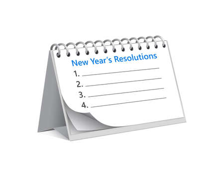 flip calendar with tasks and resolutions that should start to do with new year. Sheet with goals that you fill out and start. Concept of new beginnings