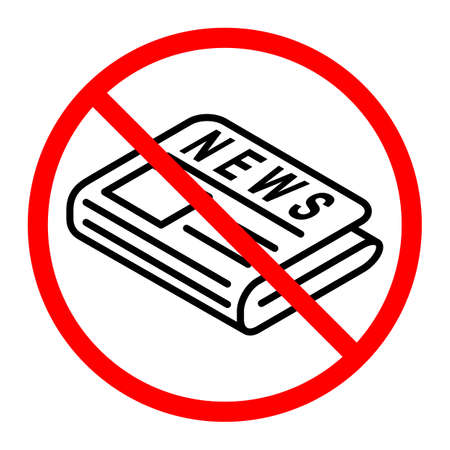 flat black hand holds out newspaper icon is crossed out with a red STOP sign. concept on topic of direct news provider