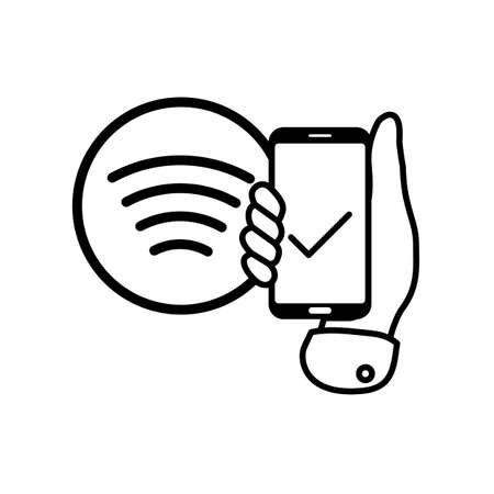 Flat hand applies contactless payment smartphone to nfc tag icon.