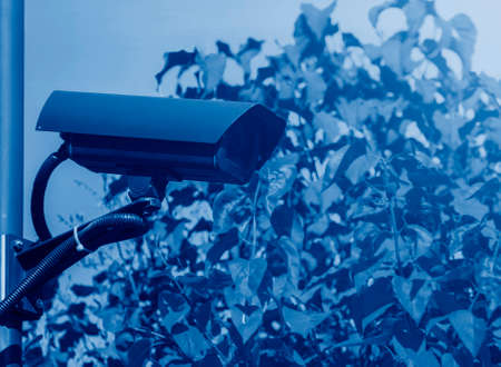 outdoor video surveillance cameras watching what is happening on the perimeter of a private area