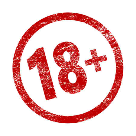 18 plus red movie icon in trendy grunge style isolated on white background. Adult content. Under eighteen years sign