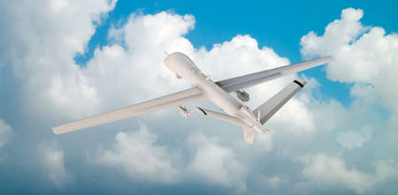 military UAV airplane flies against backdrop of beautiful clouds on blue sky background