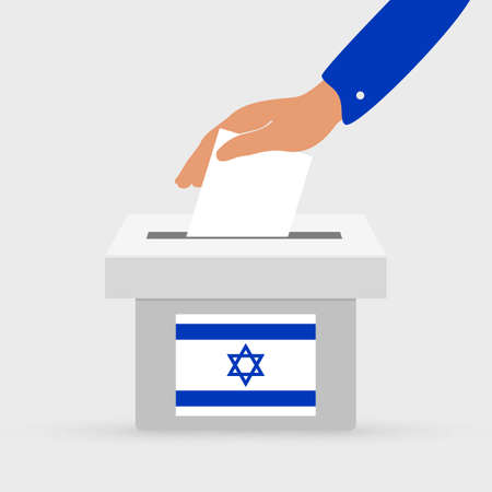 Flat hand putting vote bulletin into ballot box with flag icon. Election concept in Israel