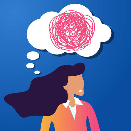 Thoughtful beauty girl with speech bubble and tangled line inside on blue background. concept of chaotic thought process, confusion, personality disorder and depression.