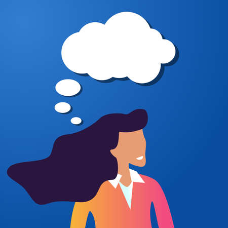 Thoughtful beauty girl with a speech bubble on a blue background. Woman is looking for inspiration