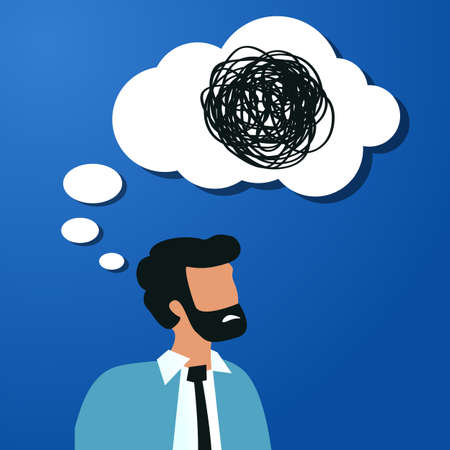 Thoughtful bearded business man with speech bubble and tangled line inside on blue background. concept of chaotic thought process, confusion, personality disorder and depression.