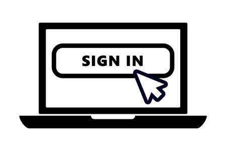 flat black laptop icon with arrow pointer or cursor mouse clicking on sign in button linear icon. Concept of using screen mobile computer or search click mouse for website. Vektorgrafik