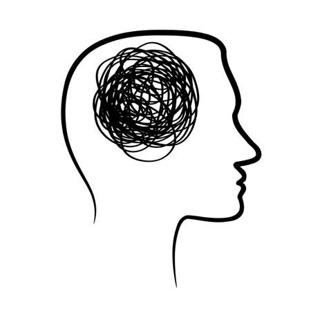 silhouette of huan head with tangled line inside, like brain. concept of chaotic thought process, confusion, personality disorder and depression Vetores
