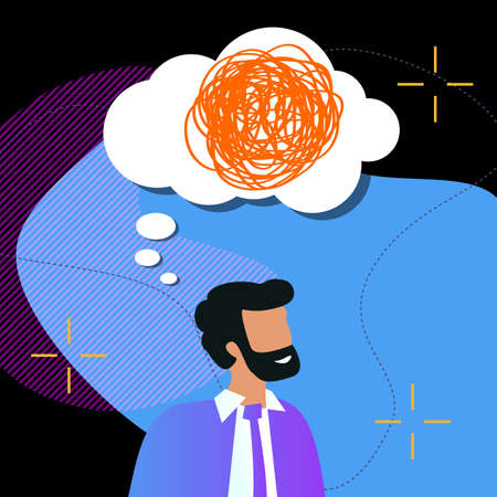 Thoughtful bearded business man with speech bubble and tangled line inside on dark background. concept of chaotic thought process, confusion, personality disorder and depression